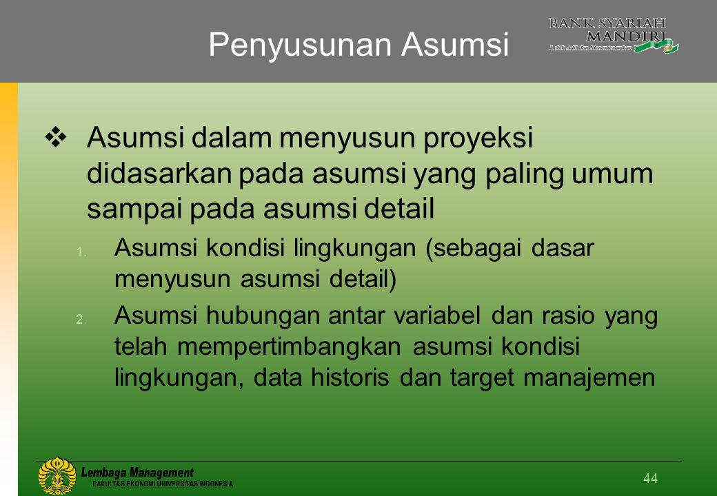 Penyusunan Asumsi Asumsi dalam menyusun proyeksi didasarkan pada asumsi yang paling umum sampai pada asumsi detail.