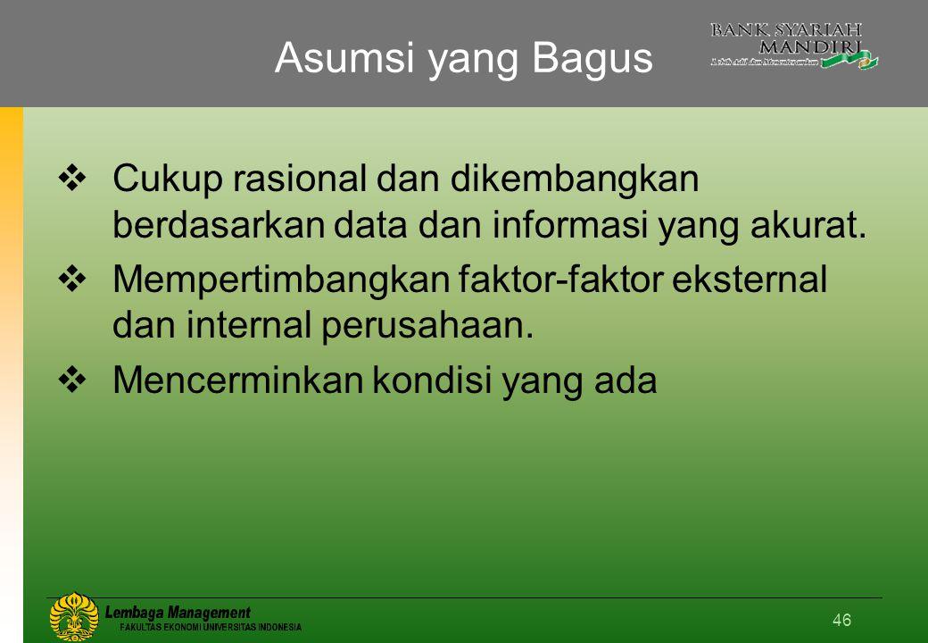 Asumsi yang Bagus Cukup rasional dan dikembangkan berdasarkan data dan informasi yang akurat.