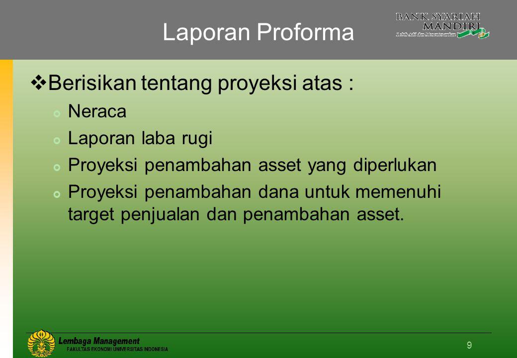 Laporan Proforma Berisikan tentang proyeksi atas : Neraca