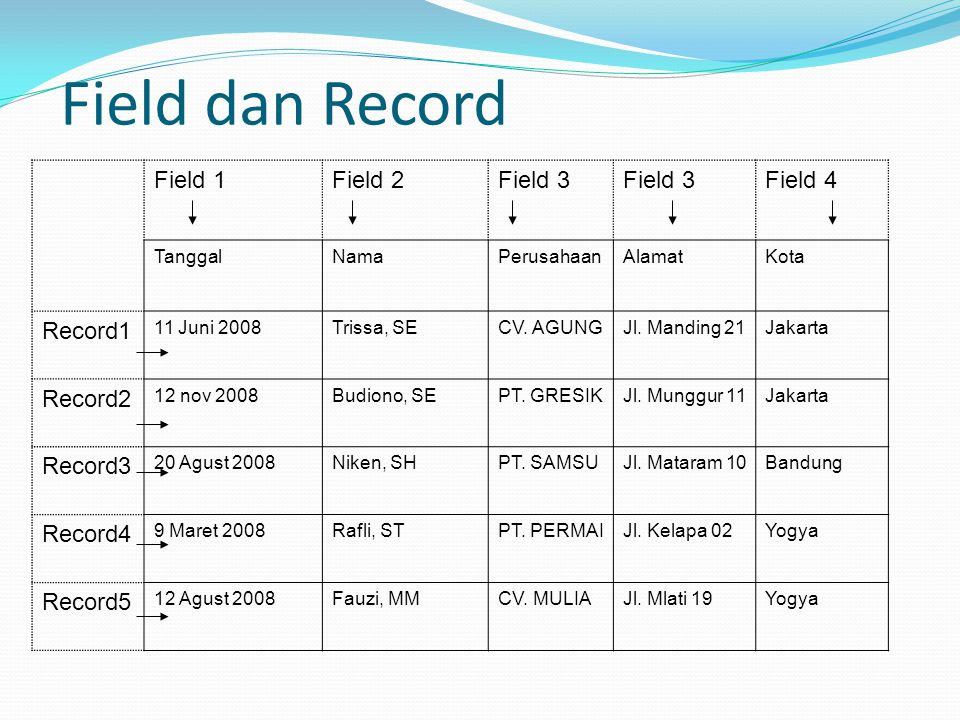 Field dan Record Field 1 Field 2 Field 3 Field 4 Record1 Record2