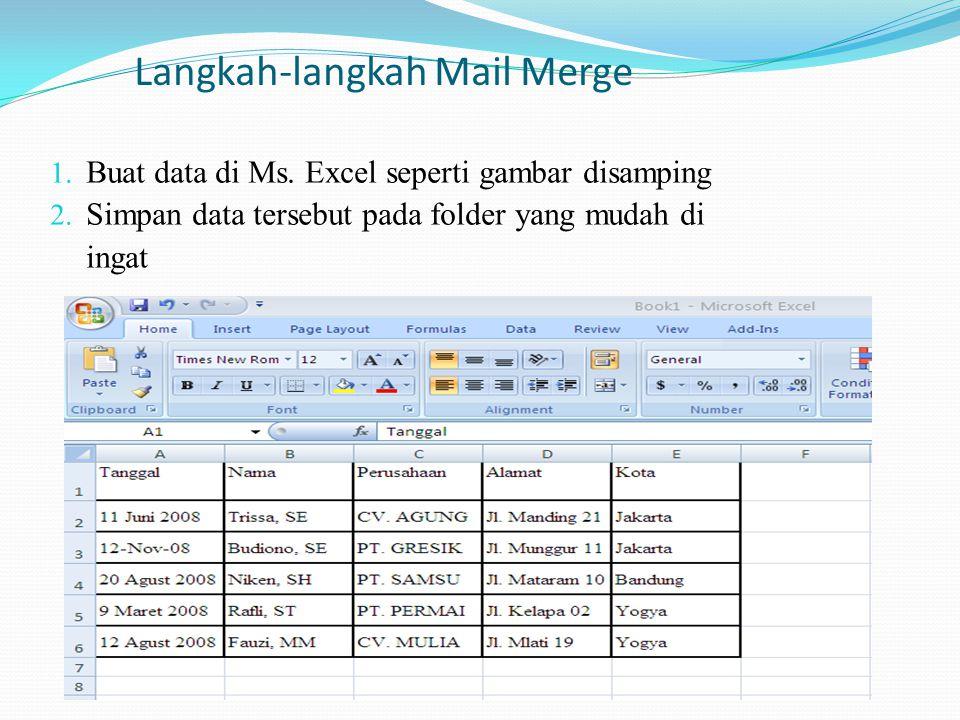 Langkah-langkah Mail Merge