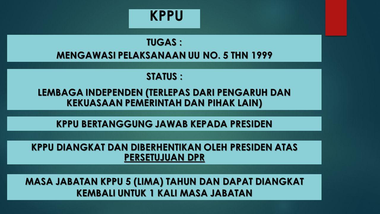 KPPU TUGAS : MENGAWASI PELAKSANAAN UU NO. 5 THN 1999 STATUS :