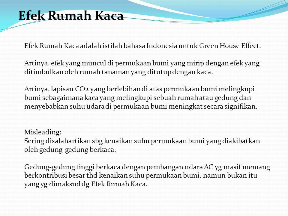 Efek Rumah Kaca Efek Rumah Kaca adalah istilah bahasa Indonesia untuk Green House Effect.