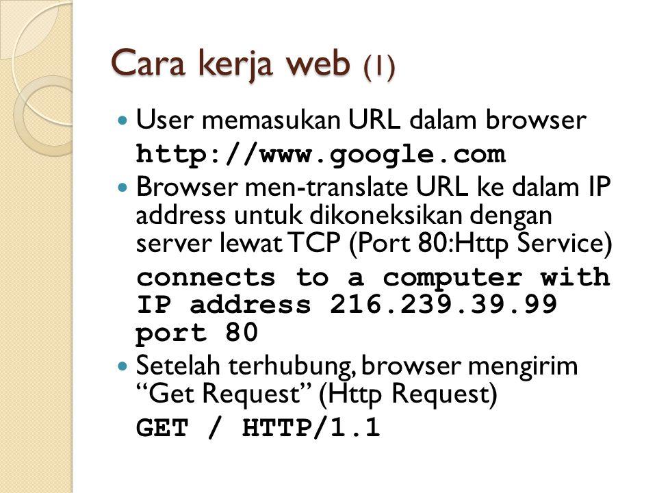 Cara kerja web (1) User memasukan URL dalam browser