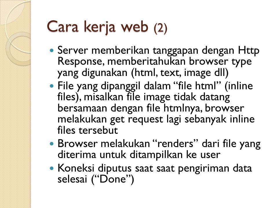 Cara kerja web (2) Server memberikan tanggapan dengan Http Response, memberitahukan browser type yang digunakan (html, text, image dll)