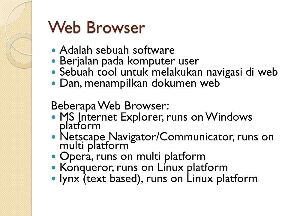 Web Browser Adalah sebuah software Berjalan pada komputer user