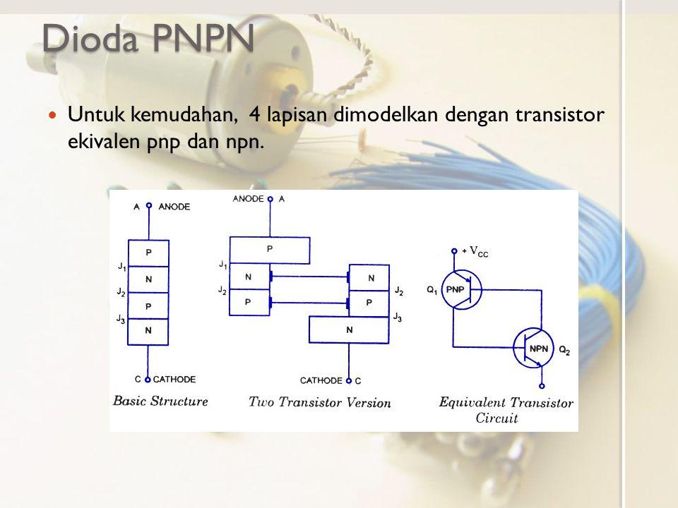 Dioda PNPN Untuk kemudahan, 4 lapisan dimodelkan dengan transistor ekivalen pnp dan npn.