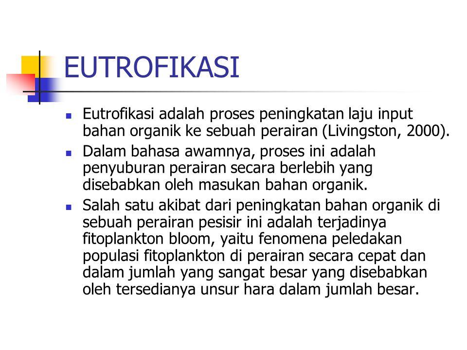 EUTROFIKASI Eutrofikasi adalah proses peningkatan laju input bahan organik ke sebuah perairan (Livingston, 2000).