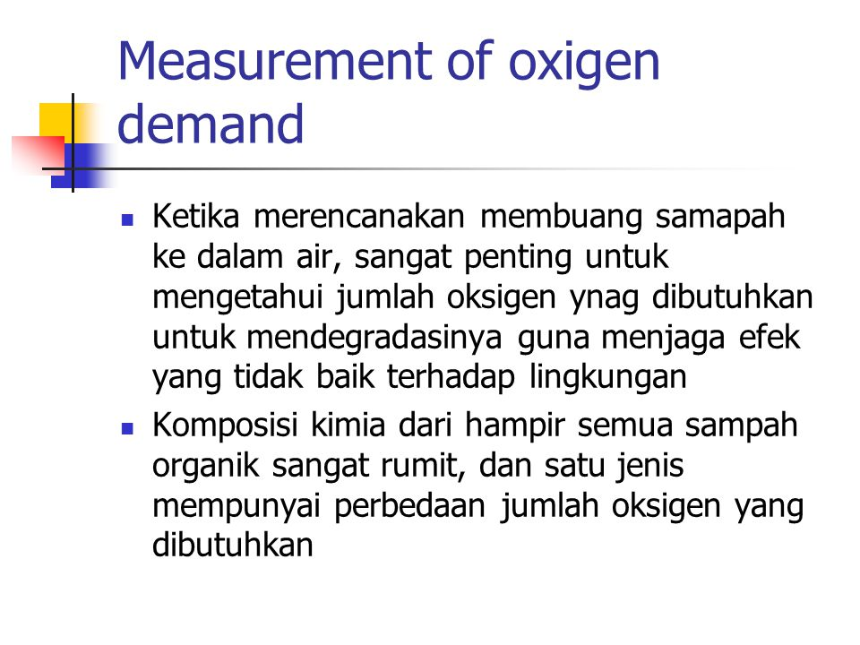 Measurement of oxigen demand