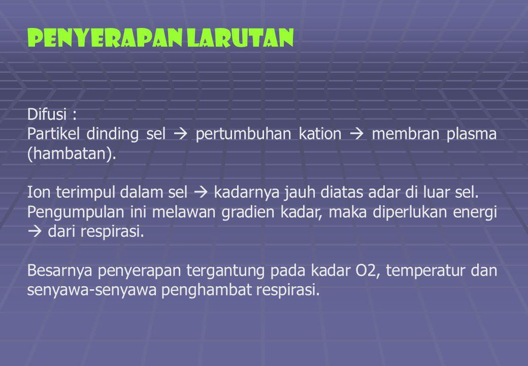PENYERAPAN LARUTAN Difusi :