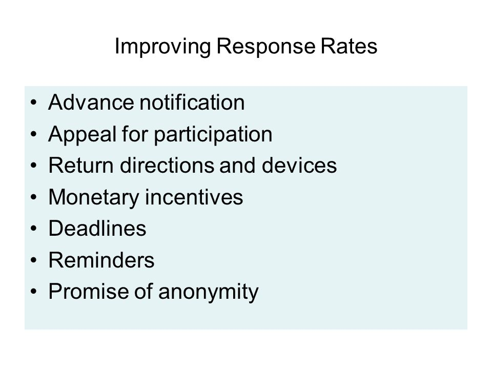 Improving Response Rates