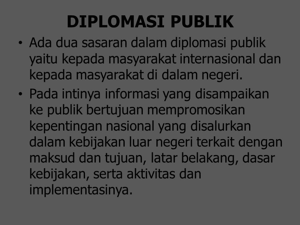 DIPLOMASI PUBLIK Ada dua sasaran dalam diplomasi publik yaitu kepada masyarakat internasional dan kepada masyarakat di dalam negeri.