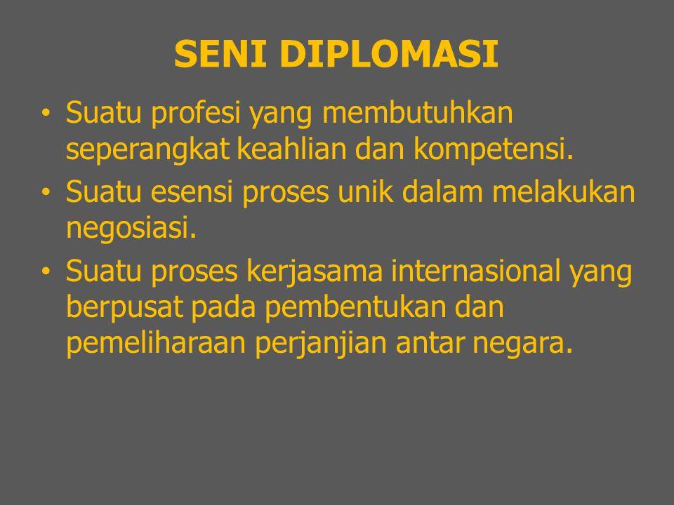 SENI DIPLOMASI Suatu profesi yang membutuhkan seperangkat keahlian dan kompetensi. Suatu esensi proses unik dalam melakukan negosiasi.