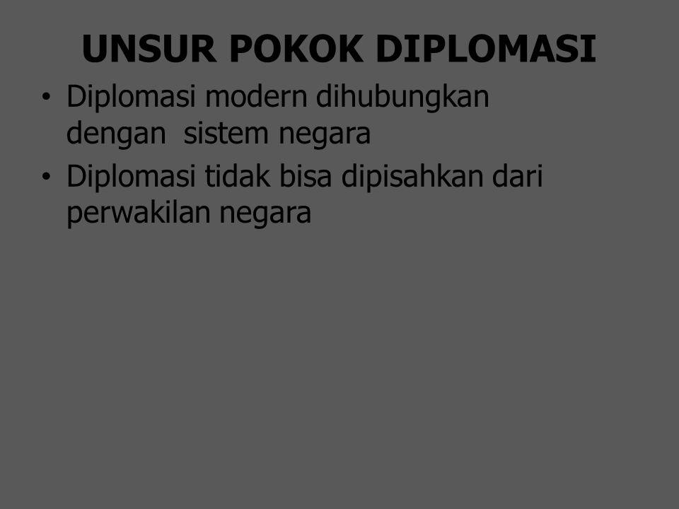UNSUR POKOK DIPLOMASI Diplomasi modern dihubungkan dengan sistem negara.