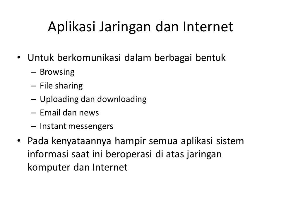 Aplikasi Jaringan dan Internet