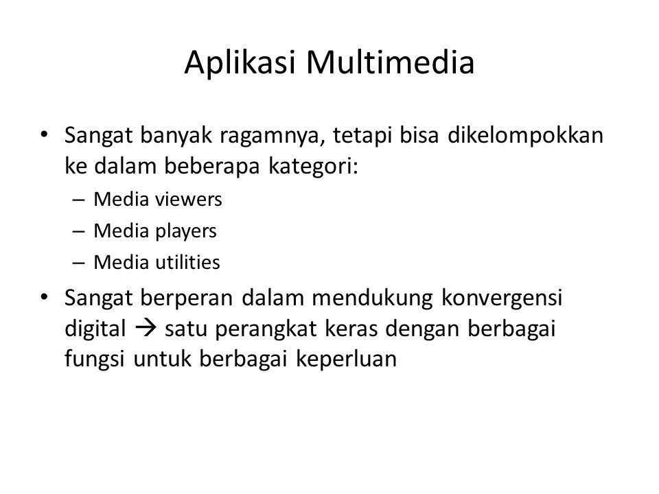 Aplikasi Multimedia Sangat banyak ragamnya, tetapi bisa dikelompokkan ke dalam beberapa kategori: Media viewers.