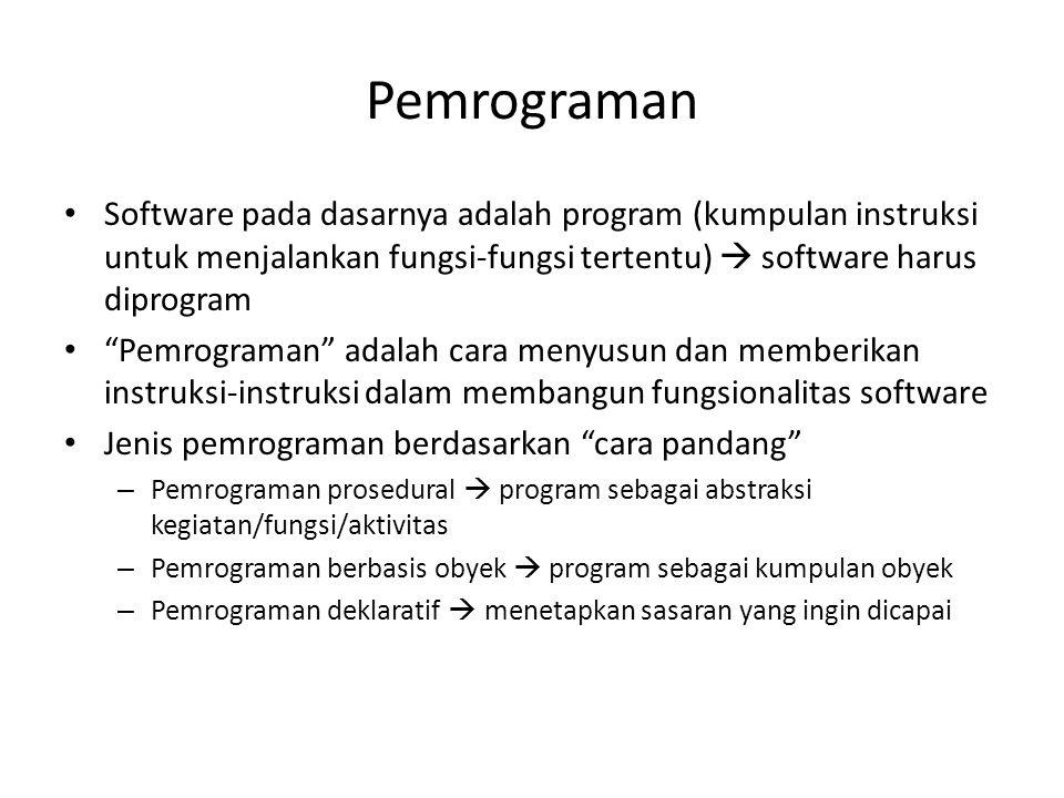 Pemrograman Software pada dasarnya adalah program (kumpulan instruksi untuk menjalankan fungsi-fungsi tertentu)  software harus diprogram.