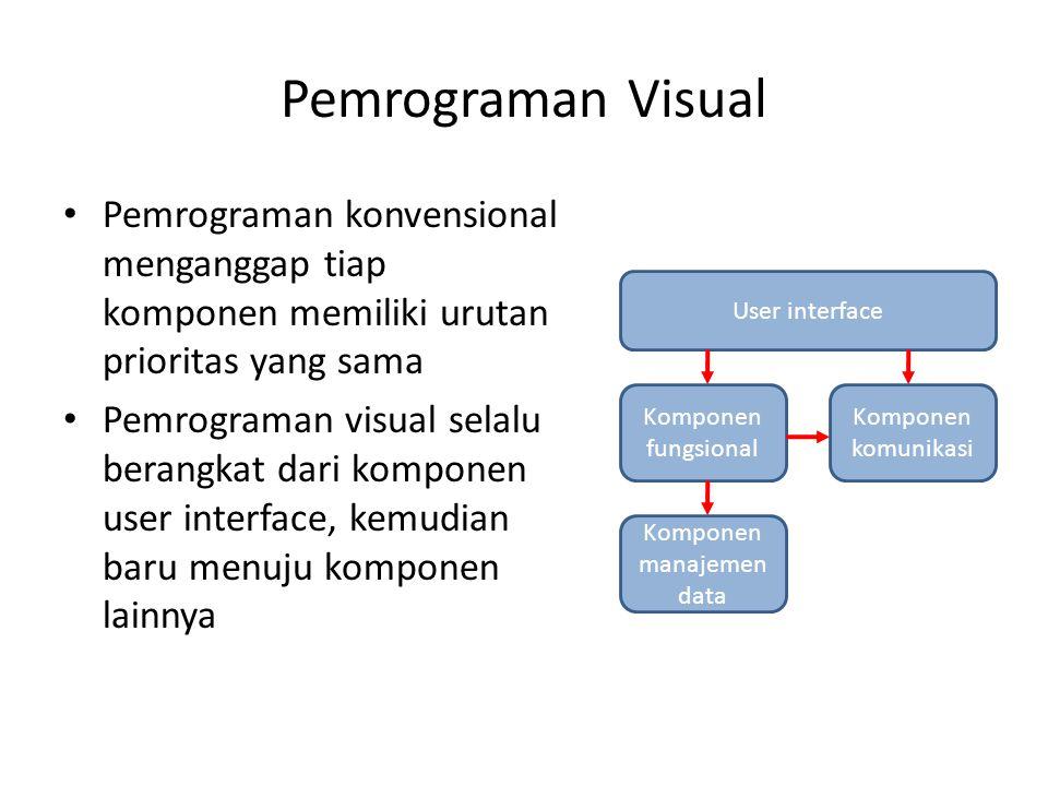 Pemrograman Visual Pemrograman konvensional menganggap tiap komponen memiliki urutan prioritas yang sama.