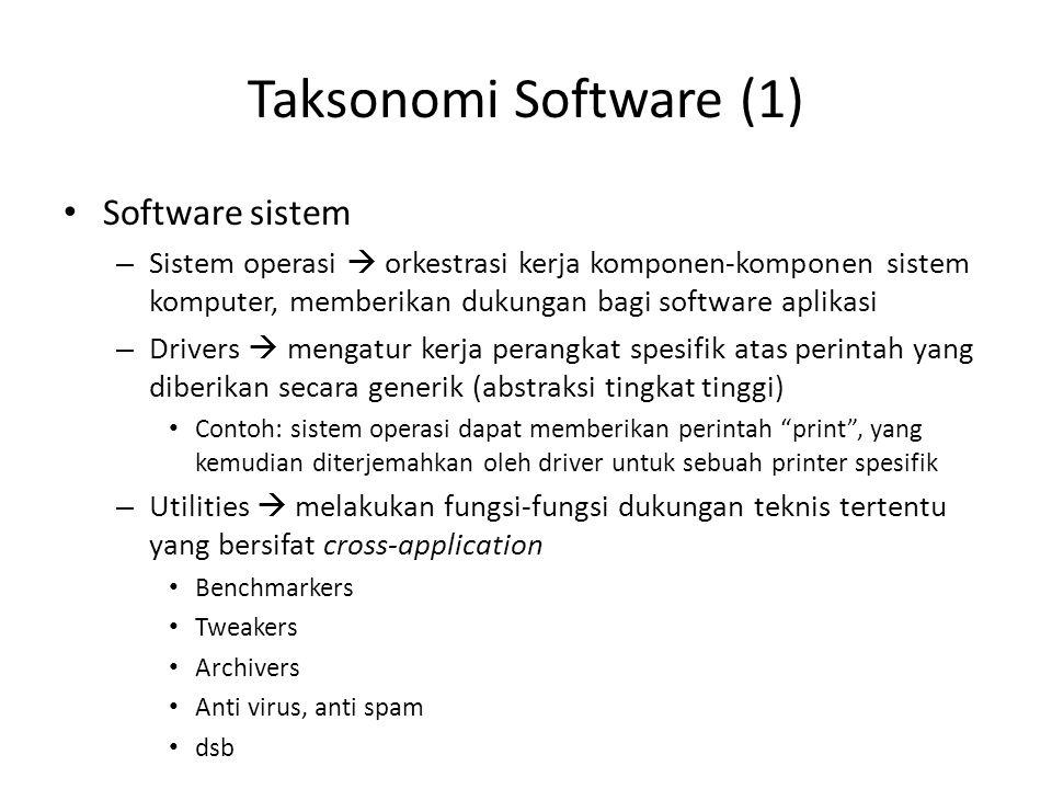 Taksonomi Software (1) Software sistem