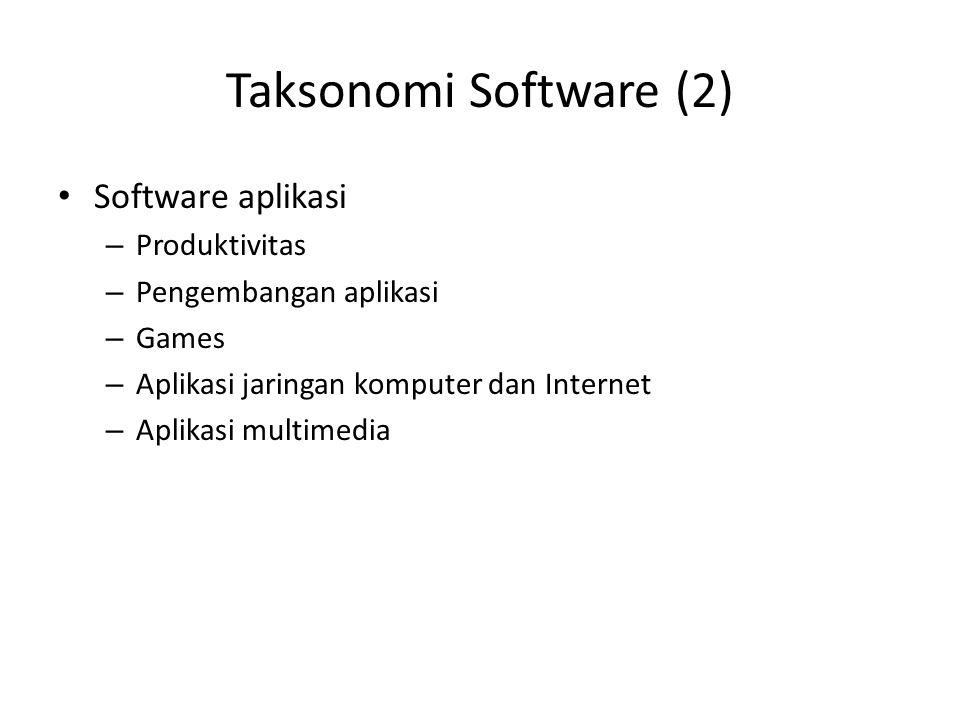 Taksonomi Software (2) Software aplikasi Produktivitas