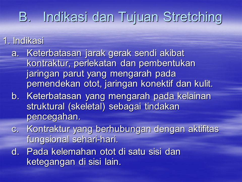 B. Indikasi dan Tujuan Stretching