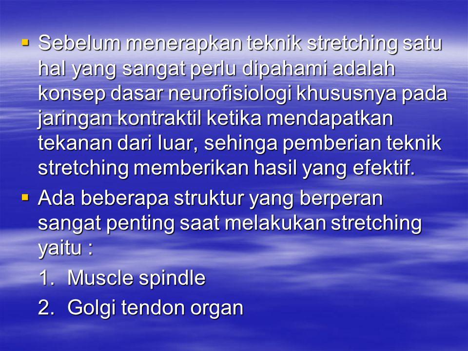 Sebelum menerapkan teknik stretching satu hal yang sangat perlu dipahami adalah konsep dasar neurofisiologi khususnya pada jaringan kontraktil ketika mendapatkan tekanan dari luar, sehinga pemberian teknik stretching memberikan hasil yang efektif.