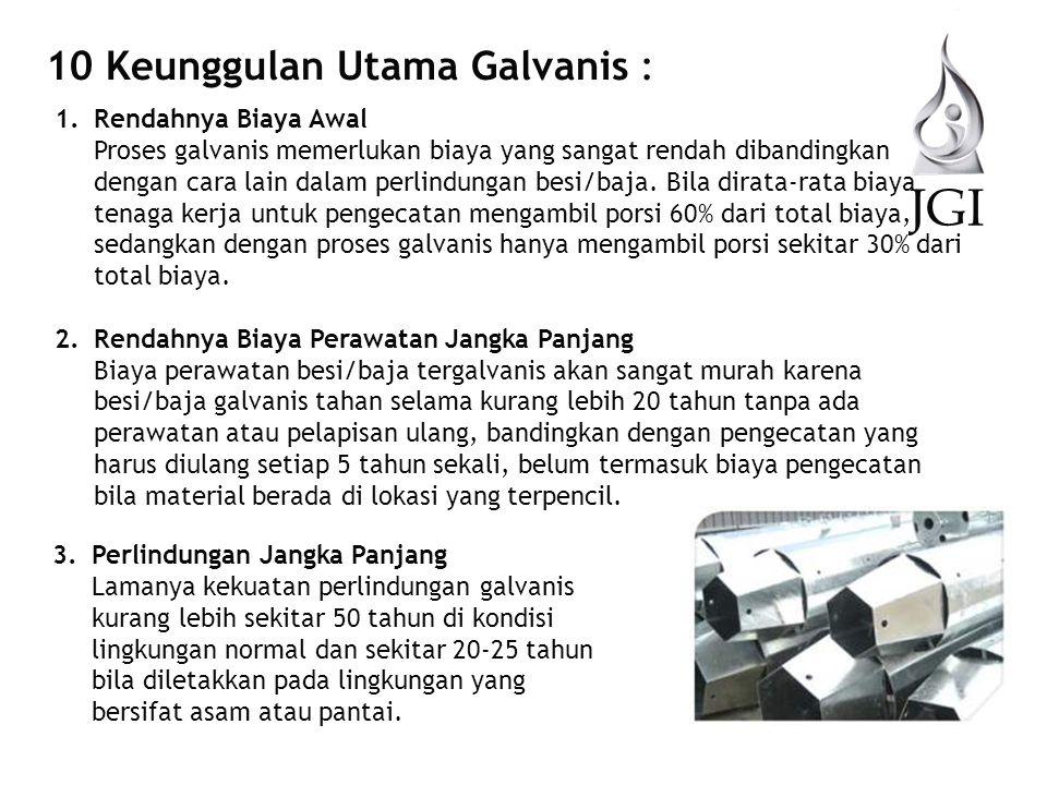 JGI 10 Keunggulan Utama Galvanis : Rendahnya Biaya Awal