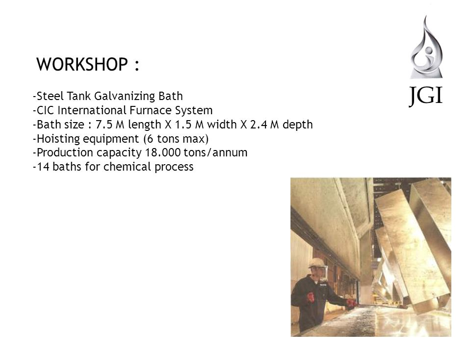 JGI WORKSHOP : Steel Tank Galvanizing Bath