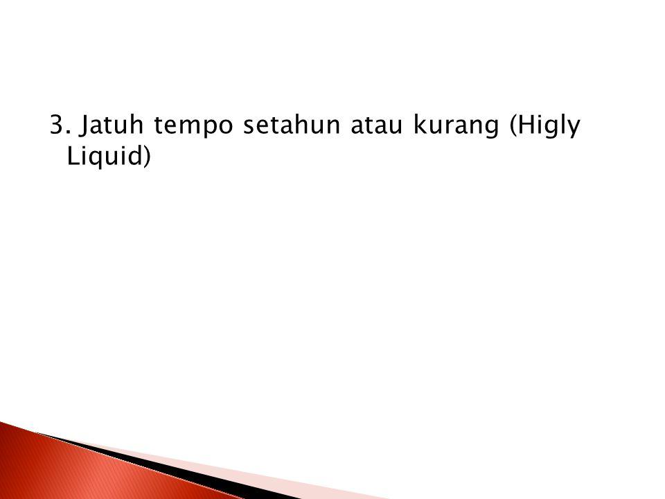 3. Jatuh tempo setahun atau kurang (Higly Liquid)