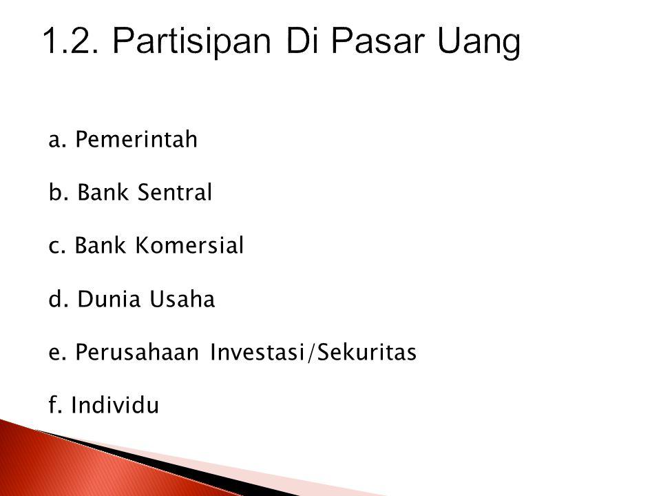 1.2. Partisipan Di Pasar Uang