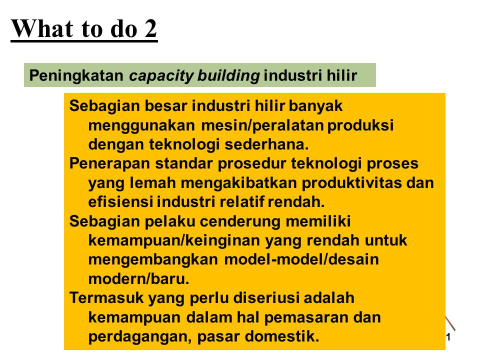 What to do 2 Peningkatan capacity building industri hilir