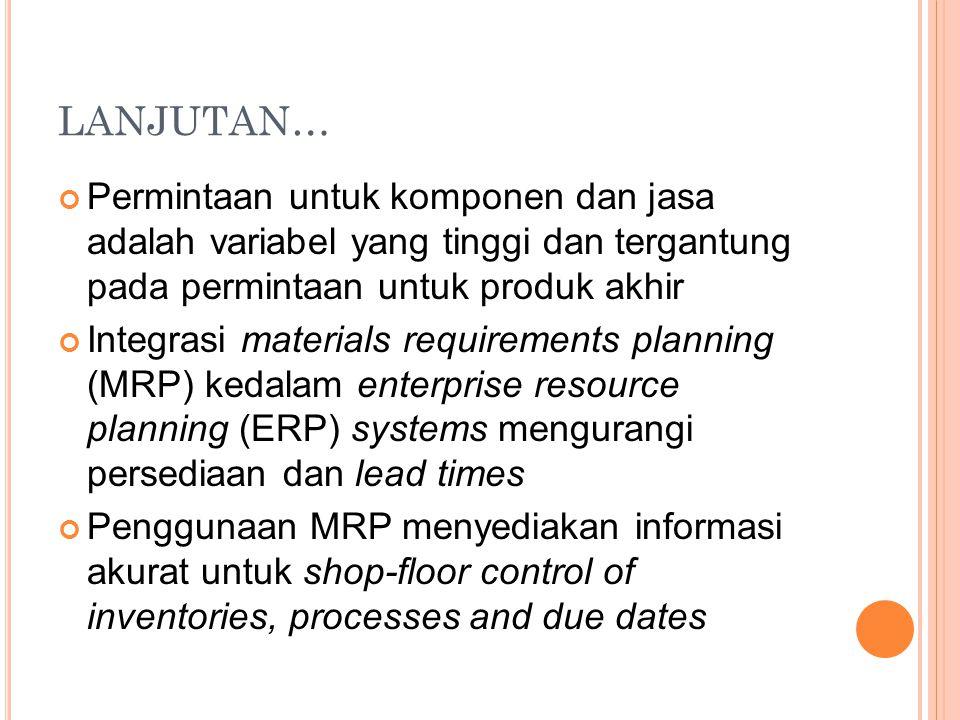 LANJUTAN… Permintaan untuk komponen dan jasa adalah variabel yang tinggi dan tergantung pada permintaan untuk produk akhir.