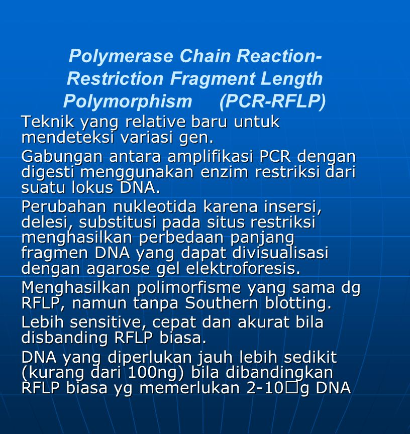 Polymerase Chain Reaction-Restriction Fragment Length Polymorphism (PCR-RFLP)