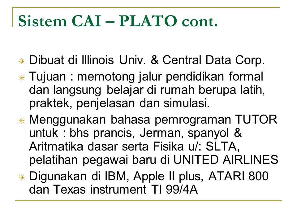 Sistem CAI – PLATO cont. Dibuat di Illinois Univ. & Central Data Corp.
