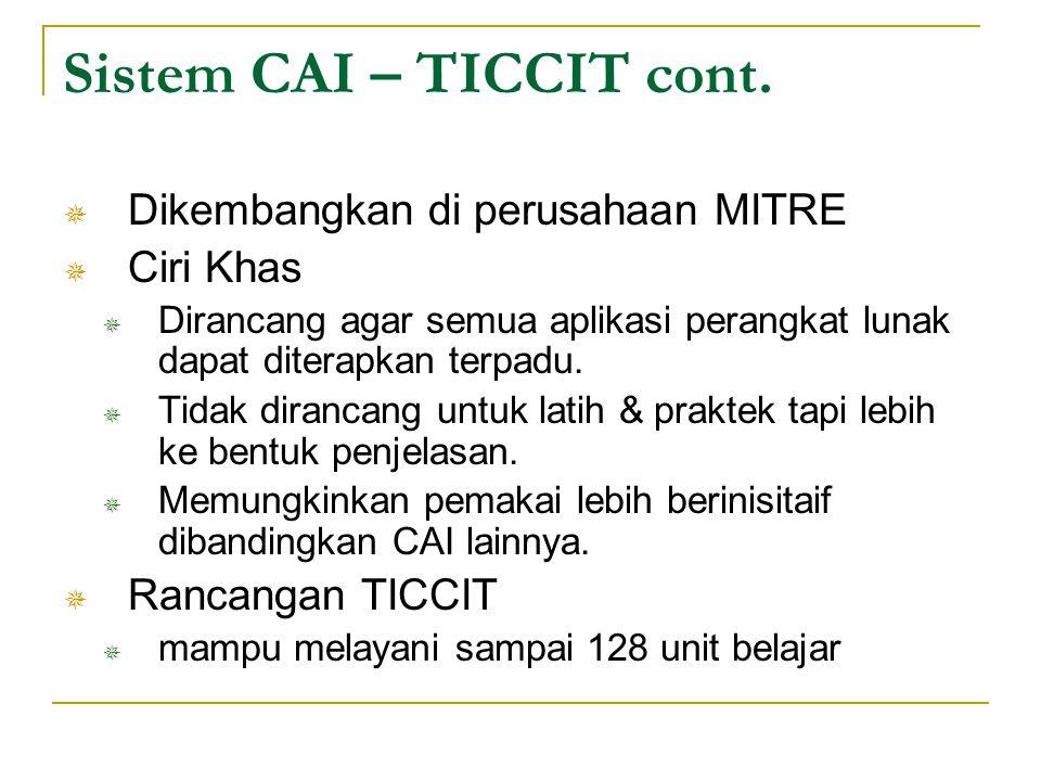 Sistem CAI – TICCIT cont.