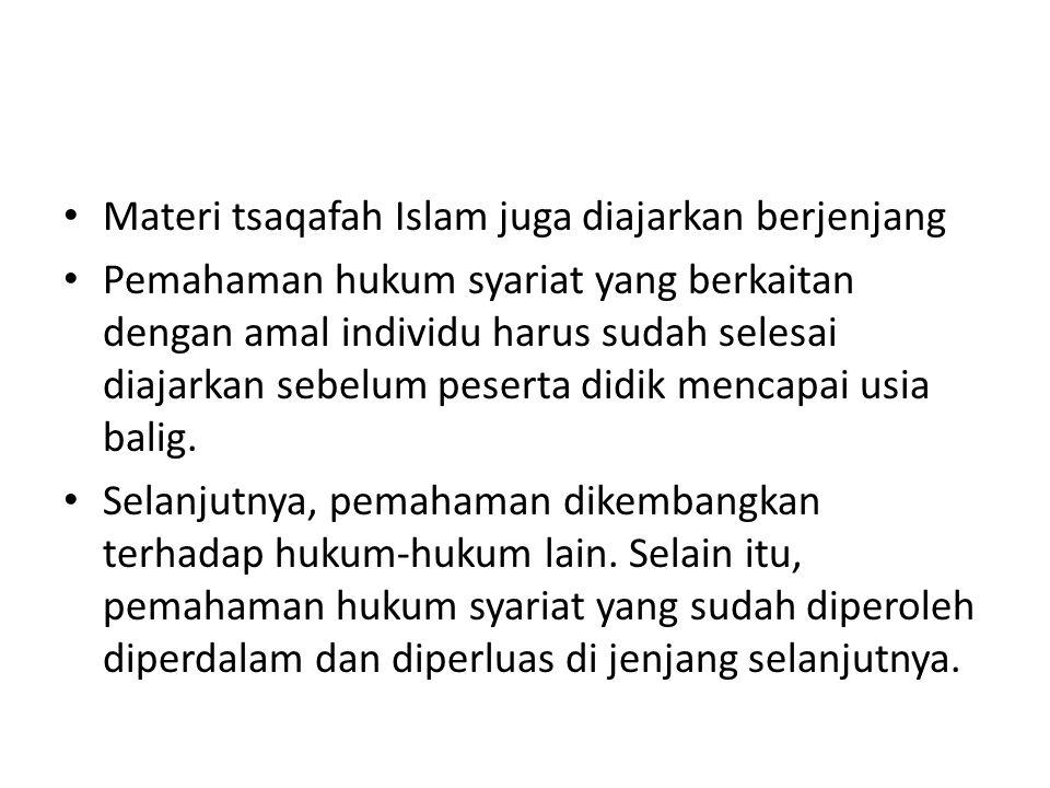 Materi tsaqafah Islam juga diajarkan berjenjang