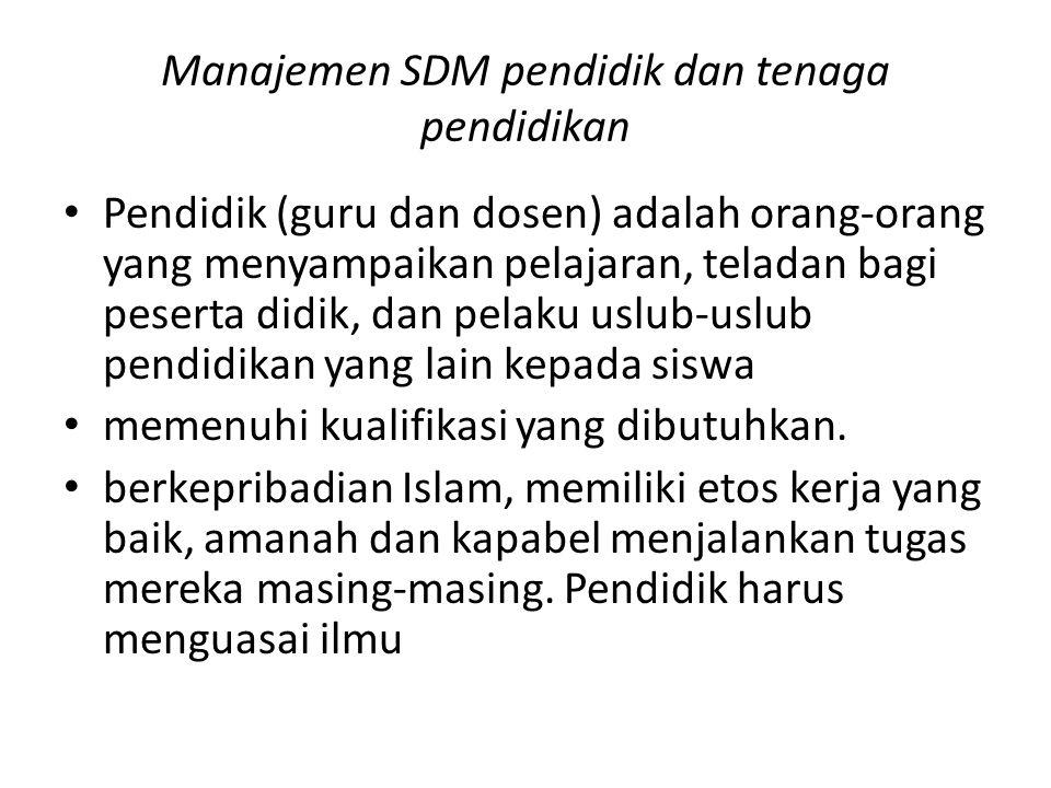 Manajemen SDM pendidik dan tenaga pendidikan
