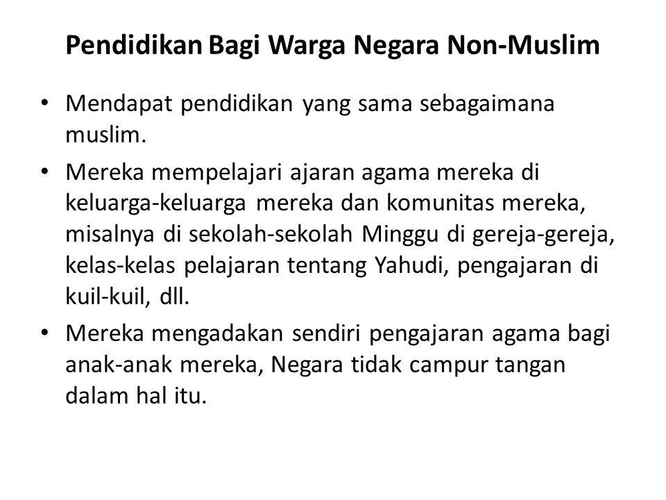 Pendidikan Bagi Warga Negara Non-Muslim
