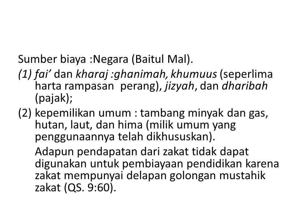 Sumber biaya :Negara (Baitul Mal).