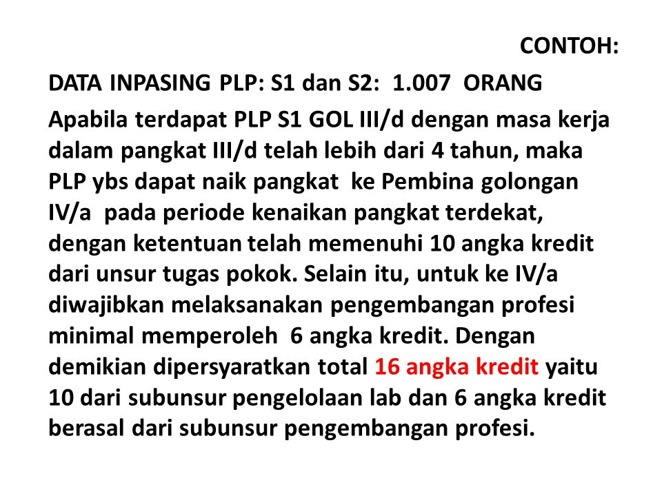 CONTOH: DATA INPASING PLP: S1 dan S2: 1.007 ORANG.