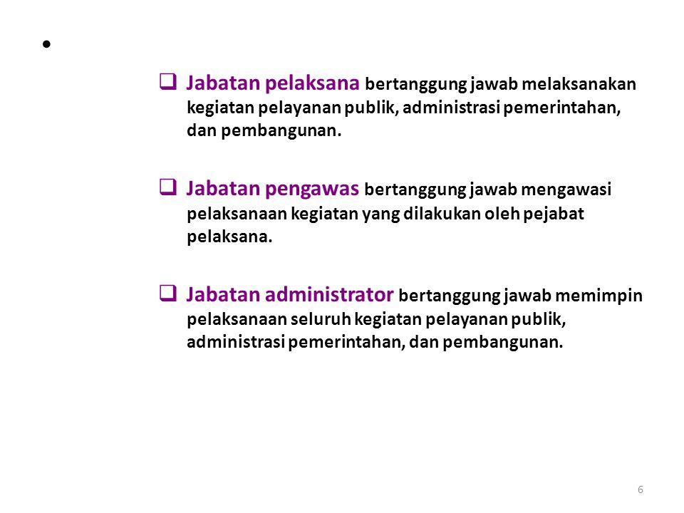 Jabatan pelaksana bertanggung jawab melaksanakan kegiatan pelayanan publik, administrasi pemerintahan, dan pembangunan.
