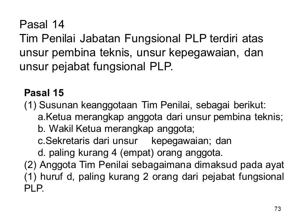 Pasal 14 Tim Penilai Jabatan Fungsional PLP terdiri atas unsur pembina teknis, unsur kepegawaian, dan unsur pejabat fungsional PLP.