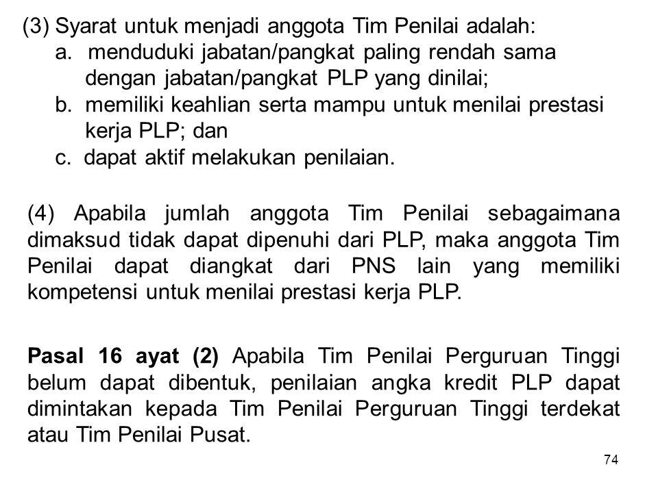 (3) Syarat untuk menjadi anggota Tim Penilai adalah: