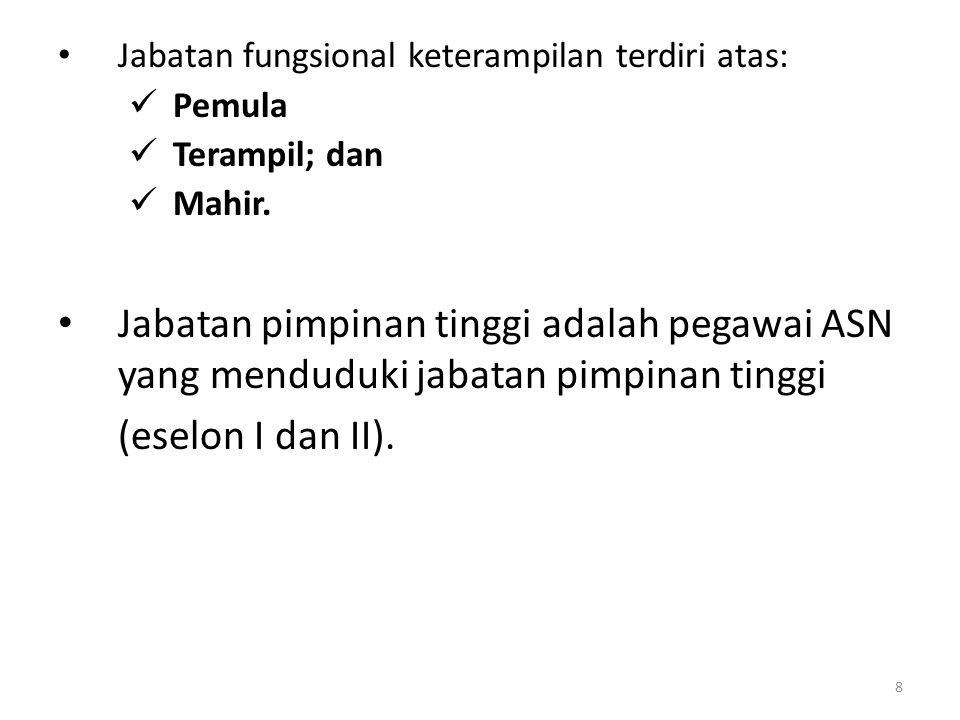 Jabatan fungsional keterampilan terdiri atas: