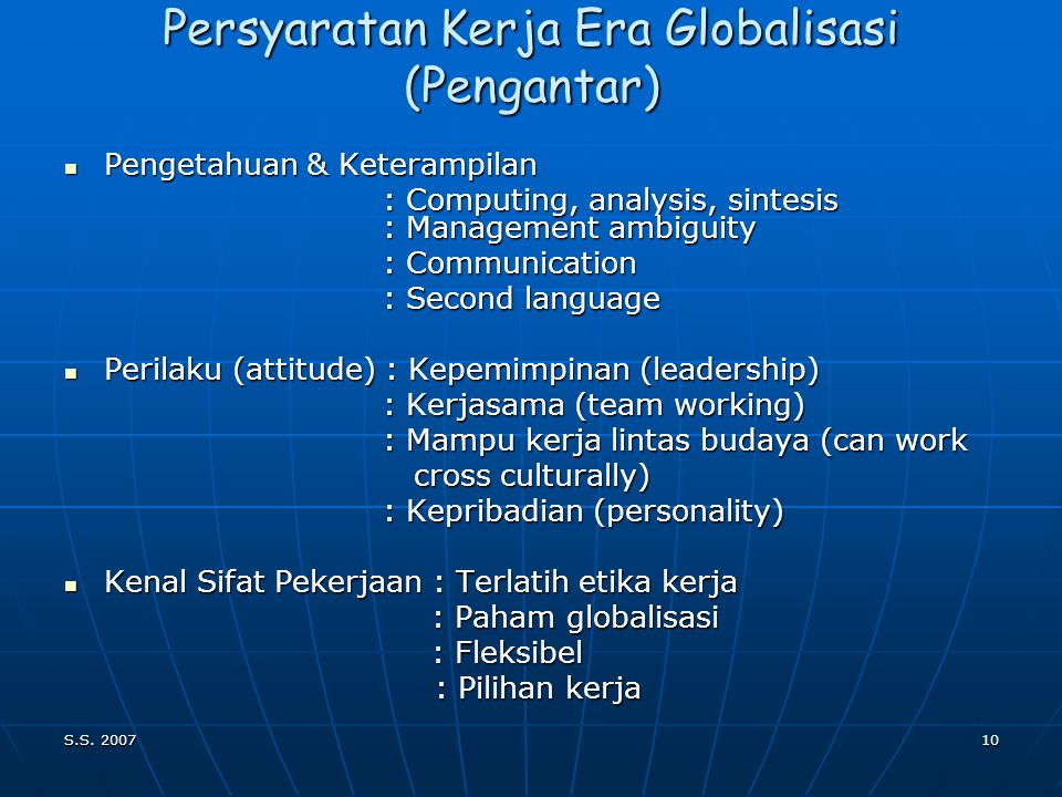 Persyaratan Kerja Era Globalisasi (Pengantar)