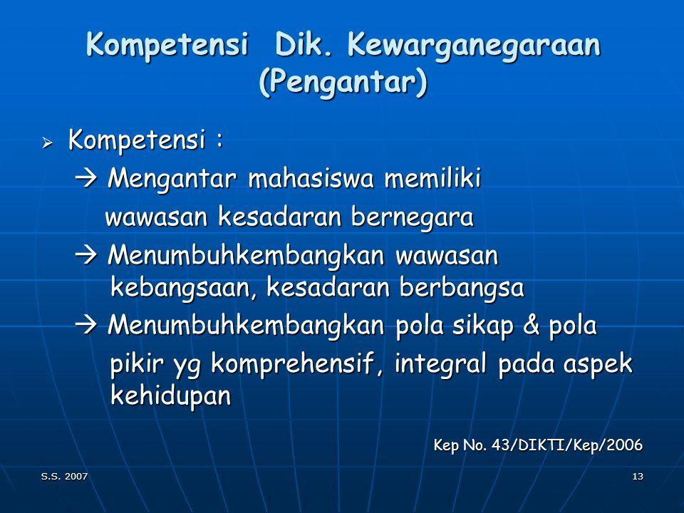 Kompetensi Dik. Kewarganegaraan (Pengantar)