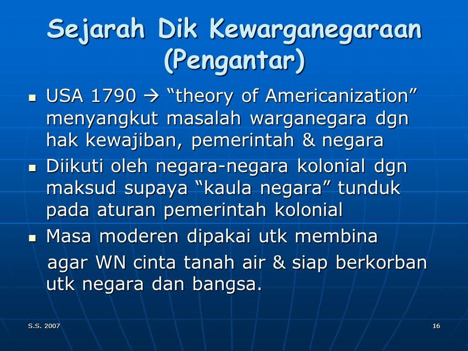 Sejarah Dik Kewarganegaraan (Pengantar)