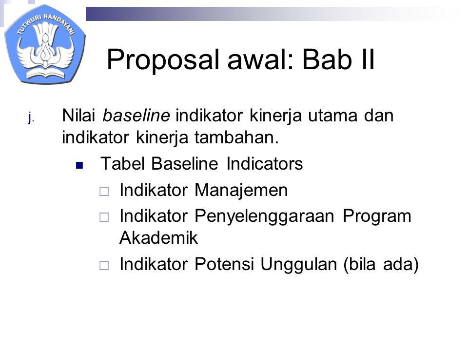 Proposal awal: Bab II Nilai baseline indikator kinerja utama dan indikator kinerja tambahan. Tabel Baseline Indicators.