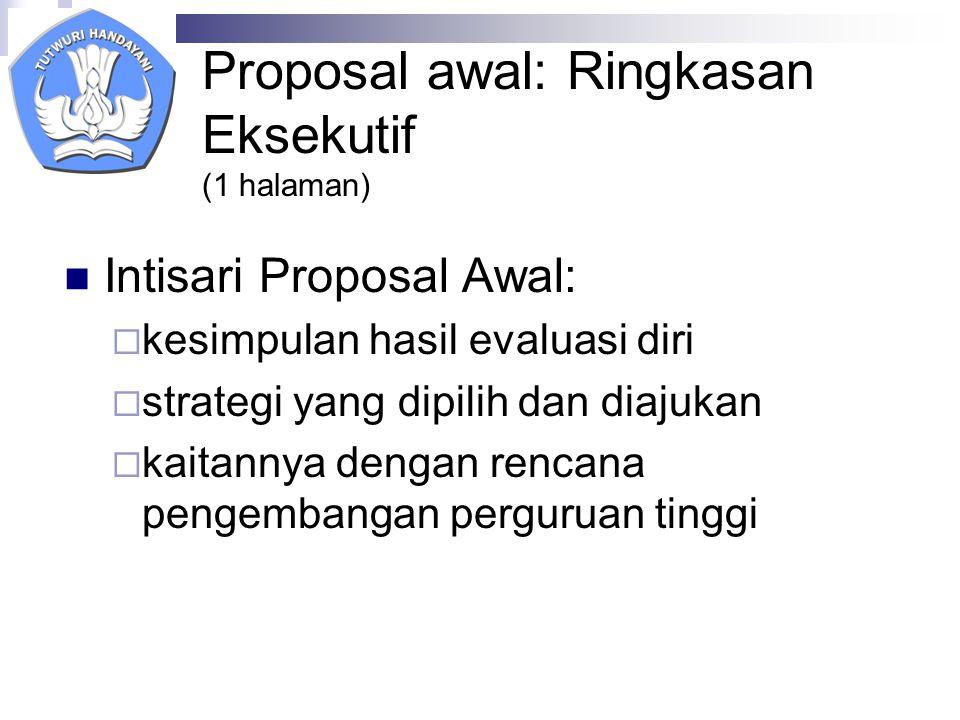 Proposal awal: Ringkasan Eksekutif (1 halaman)