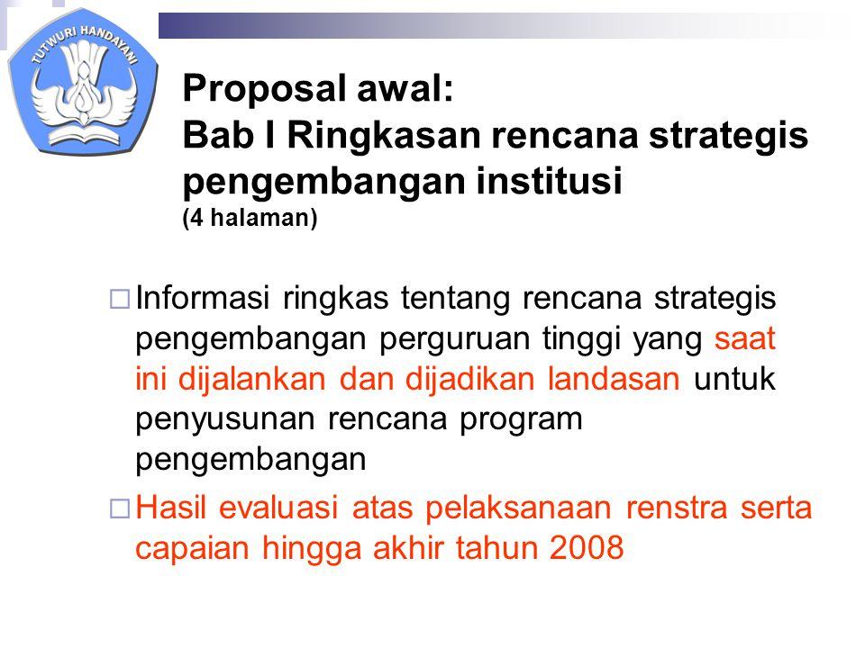 Proposal awal: Bab I Ringkasan rencana strategis pengembangan institusi (4 halaman)